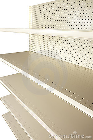 Empty retail store shelves at extreme angle
