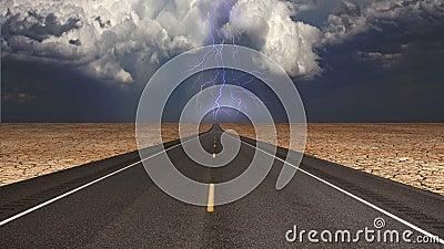 Empty road in desert storm