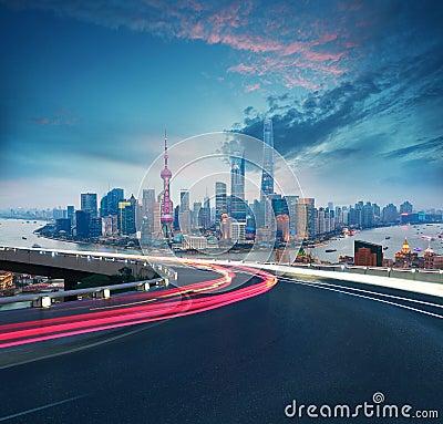Free Empty Road Floor With Bird-eye View At Shanghai Bund Skyline Stock Photo - 91436130
