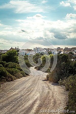 Empty road in sunlight blue sky destination