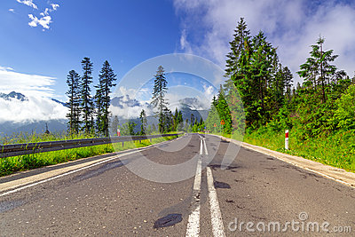 Empty road in Tatra mountains