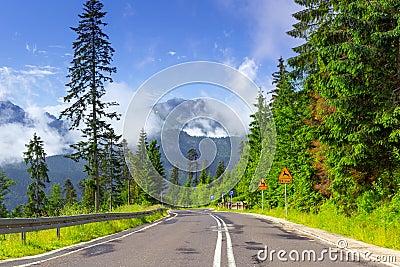 Empty road in Tatra mountains