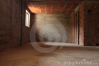 Empty room with brick walls