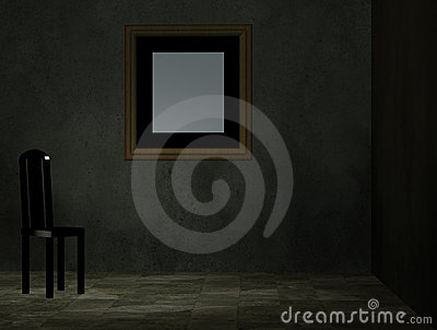 An empty room with chair