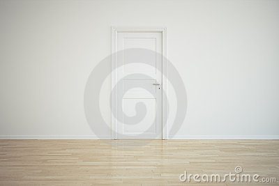 Empty room with a closed door
