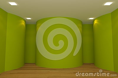 Empty room green curve wall