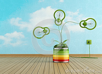 Empty room with green lamp in a colorful vase