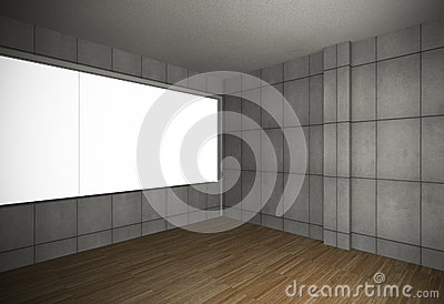 Empty room with grunge wall and old wood floor