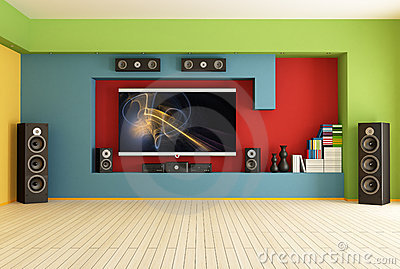 Empty room with home theater