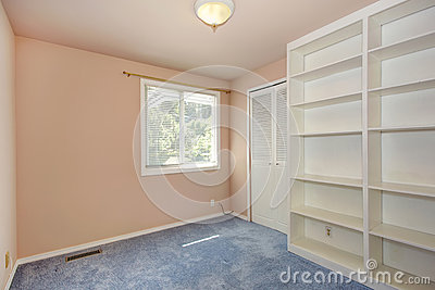 Empty room interior in soft peach