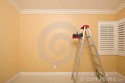 Empty Room with Ladder, Paint Tray and Rollers