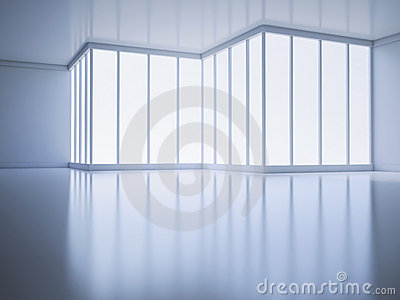An empty room with a large window