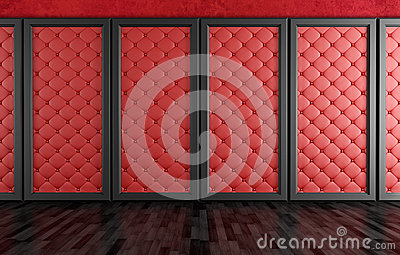 Empty room with red upholstered panels