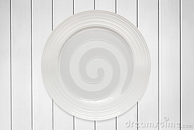 Empty Round Plate on White Timber