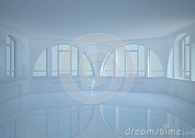 Empty round room with big arched windows