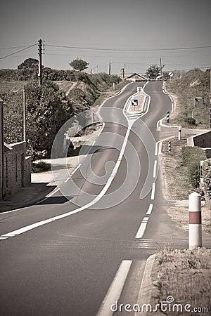 Empty Rural Curve Road