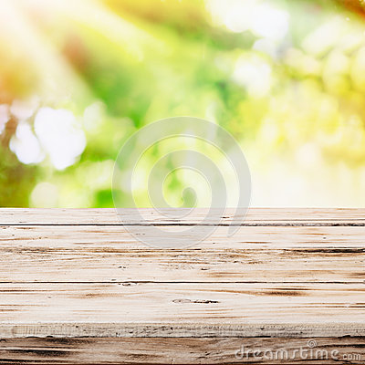 Free Empty Rustic Wooden Table With Golden Sunlight Stock Photo - 36537880