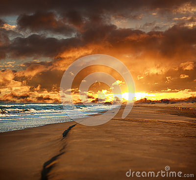 Free Empty Sandy Beach And Windy Sea On Dramatic Sky Royalty Free Stock Images - 92487789