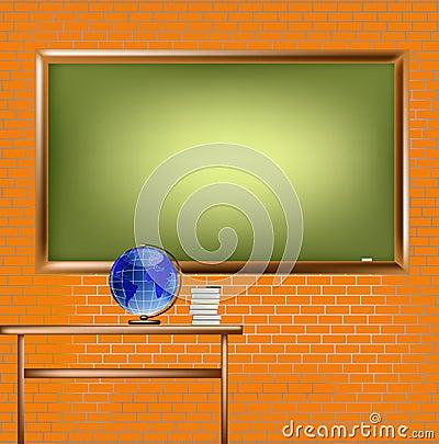 Empty school blackboard at brick wall