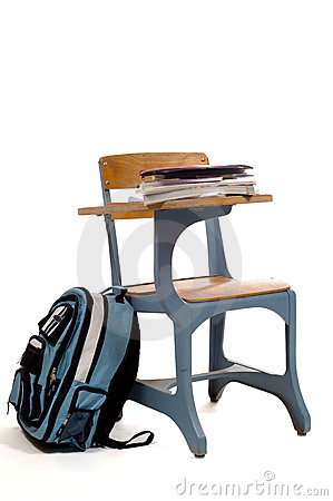 Empty School Desk with supplies