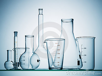 Empty science beakers