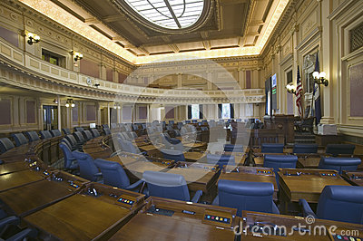 Empty seats of House of Representatives Chamber Editorial Stock Photo