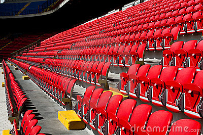 Empty seats on soccer stadium