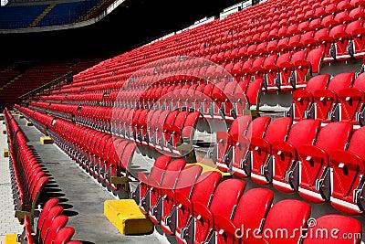 Empty seats on soccer stadium