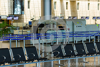 Empty seats and stopped airport equipment in Saturday (Shabbat) Editorial Stock Photo