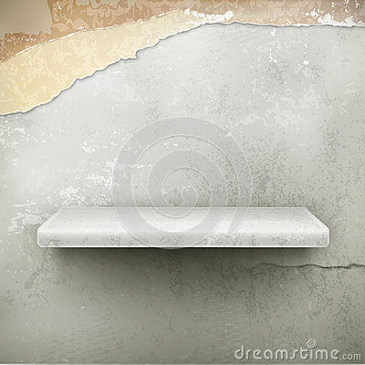 Empty shelf, vintage background