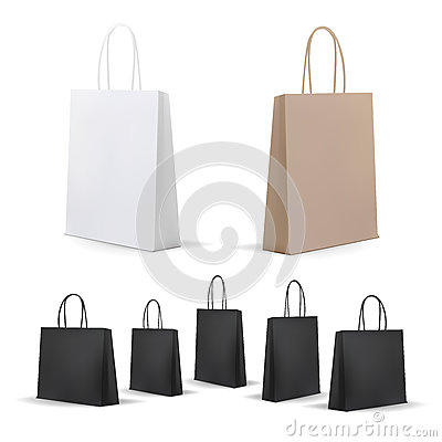 Free Empty Shopping Bags Set. White,Brown,Black,Cardboard. Set For Advertising And Branding. MockUp Package. Royalty Free Stock Images - 79781379