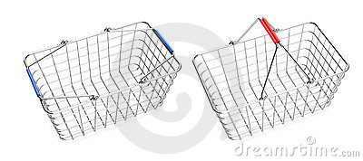 Empty shopping baskets