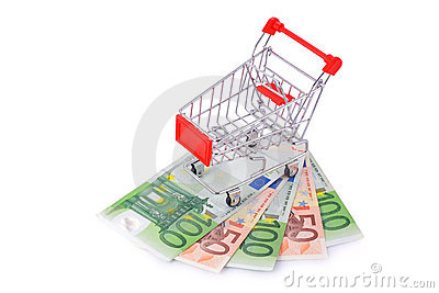 Empty Shopping Cart on Euros Isolated