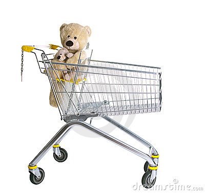 Empty shopping cart with Teddybear