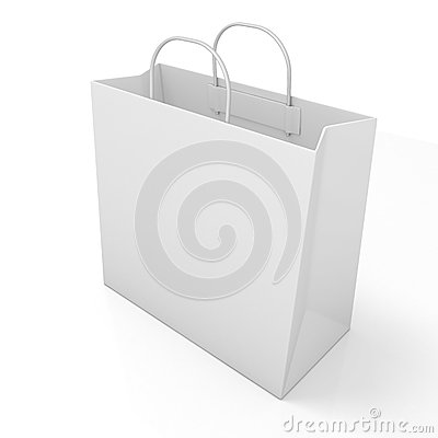 Free Empty Shopping Paper Bag. Side View Royalty Free Stock Images - 56280719