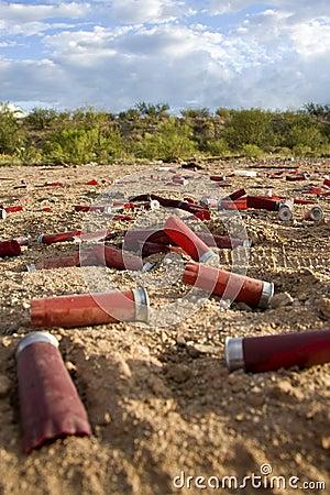 Empty shot gun shells