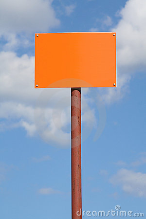 Empty sign post against the sky