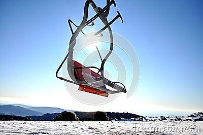Empty ski lift seat