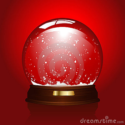 Empty snowglobe on red