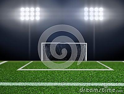 Empty soccer field with spotlights