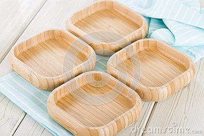 Empty Square Bamboo Bowls.