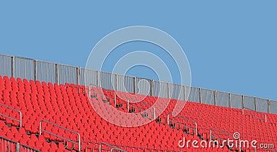 Empty stadium seats and sky
