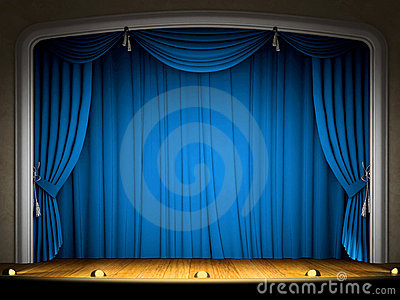 Empty stage with blue curtain