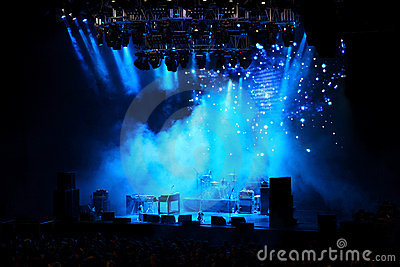 Empty stage in blue light