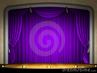 Empty stage with violet curtain