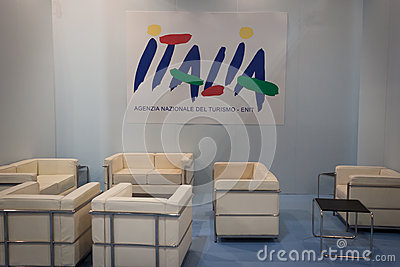 Empty stand at Bit 2014, international tourism exchange in Milan, Italy Editorial Image