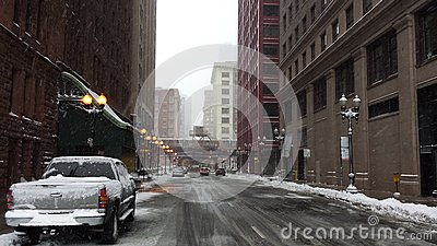 Empty street amid snow storm in Chicago Editorial Photo
