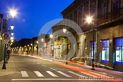 Empty street in Baia Mare - view by night Editorial Stock Image
