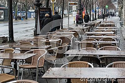 empty street cafe on unter den linden editorial image image 39378730. Black Bedroom Furniture Sets. Home Design Ideas
