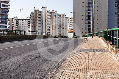Empty street road in city with house Stock Photo
